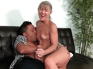 Matures Granny Tugging Salami On Couch