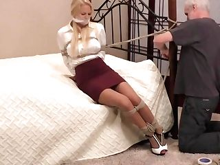 Britney In Cock-squeezing Miniskirt And Cock-squeezing Ropes.