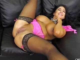 Curvy Dark Haired With Big Tits, Raven Hart Is Playing With Her Massive Titties And Getting Fucked
