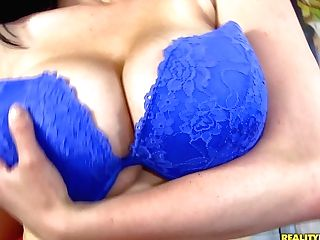 Raven Haired Beverly Paige Takes Off Her Blue Boulder-holder And