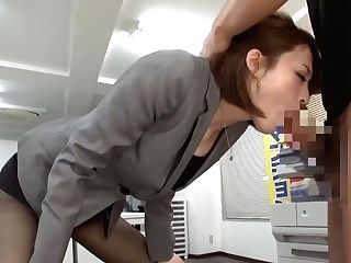 Asian Assistant Was Fully Clothed When She Got Down And Dirty With A Very Cool Co- Employee