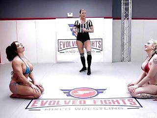 Big Cupcakes Lezzies In Rough Romp Grappling Battle With Brandi Mae Against Leya Falcon Winner Fucks Loser