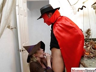Buxom Stepmommy Doggystyled In A Costume