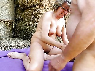 Matures Lusty Grey Haired Village Breezy Wanks And Inhales Dick On Straw In Shed