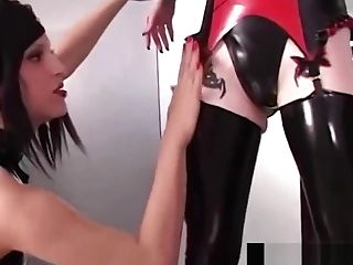 Spandex All Girl Rubberdoll Manhandles Her Marionette Lady Diabolica!