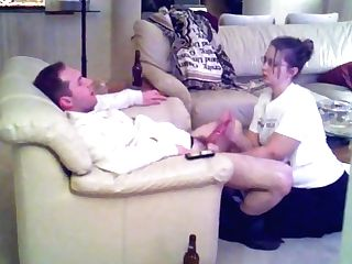 Hotwife Hot Wifey Blow-job And Hand Jobs Taunting Hubby