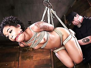 Limber And Svelte Black Mummy Skin Diamond Gets Tied Up And Treated Hard