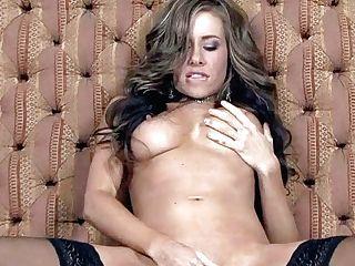 Long-legged Cali Lakai In Beautiful Black Stockings Takes Off Her