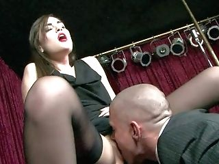 Skinny Dark Haired Sasha Grey In Black Sundress And Stockings Spreads
