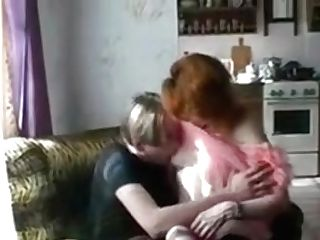 Red-haired Mom Helena And Slava Two