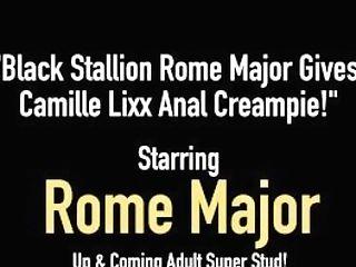 Black Stallion Rome Major Gives Camille Lixx Ass Fucking Internal Cumshot!