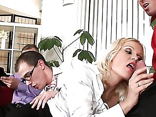 Wild Blondie Head Laticia Is The Wild Whore Who Can Lightly Make Three Dicks Jizz