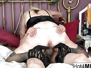 Blonde Cougar Lets Him Spunk In Her Cooter