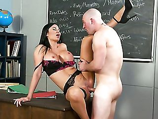 Giant Boobed Black-haired Jasmine Jae Loves Being Fucked Missionary On Table